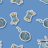 Wooden cotton threads and yarns seamless pattern. Handmade cute cartoon pattern design vector illustration
