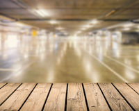 Wooden counter with car park background Stock Images