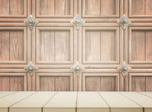 Wooden counter with castle style wall stock photos