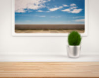 Wooden counter with terrace view from window stock photo