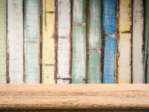 Wooden counter top with grunge wood background Stock Photography