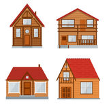 Wooden Country House or Home Set. Vector Royalty Free Stock Photo