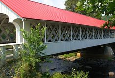 Wooden covered bridge Stock Photography