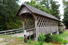 Wooden covered bridge Stock Photo