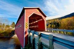 Wooden covered bridge Stock Photo