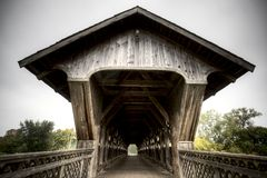 Wooden Covered Bridge Stock Image