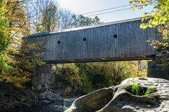 Wooden Covered Bridge. Historic Wooden Covered Bridge in Connecticut on a Sunny Autumn Day Royalty Free Stock Photos