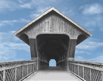 Wooden covered bridge. Royalty Free Stock Photos