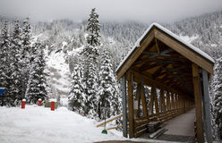 Wooden Covered Bridge Snow Mountain Washington Stock Image