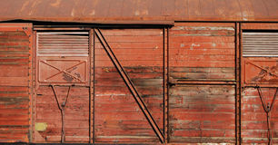 Wooden covered goods wagon. As background royalty free stock photo