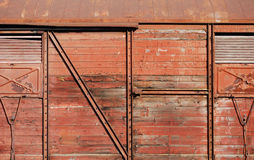 Wooden covered goods wagon. As background royalty free stock images