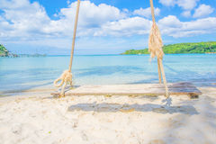 Wooden cradle and clear sky. It is beautiful and relax scene Stock Images