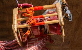 Wooden cradle of eastern type. In view royalty free stock photo