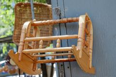 Wooden cradle of eastern type. In view royalty free stock image