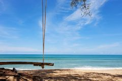 Wooden cradle on the tropical beach with scenery nature views ba. Ckground in summer season stock photos