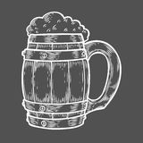 Wooden craft beer oktoberfest mug. Black vintage engraved hand drawn vector illustration. Sketch Wooden cylindrical container for liquid. White isolated on Stock Photography