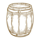 Wooden craft beer, whiskey, wine alcohol barrel. Brown vintage engraved hand drawn. Vector illustration. Craft container sketch. Wooden cylindrical container Stock Photos