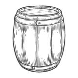 Wooden craft beer, whiskey, wine alcohol barrel. Brown vintage engraved hand drawn. Vector illustration. Craft container sketch. Wooden cylindrical container Stock Photo