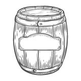 Wooden craft beer, whiskey, wine alcohol barrel with label. Brown vintage engraved. Hand drawn vector illustration. Craft container sketch. Wooden cylindrical stock illustration