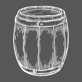 Wooden craft beer, whiskey, wine alcohol barrel. White vintage engraved hand drawn. Vector illustration. Craft container sketch. Wooden cylindrical container Stock Photos