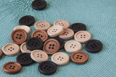 Wooden Craft Buttons Stock Photography