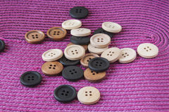 Wooden Craft Buttons Royalty Free Stock Images