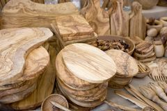 Wooden craft products Royalty Free Stock Image