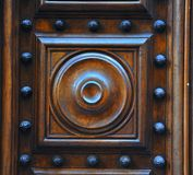Wooden crafts door detail, Italy  Stock Photos