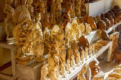 Wooden crafts for sale Royalty Free Stock Photos