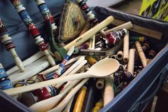 Wooden crafts. Traditional handwork souvenir in the box Stock Image