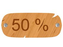 Wooden crashed signboard with 50 % inscription Royalty Free Stock Images