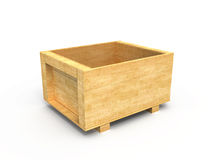 Wooden crate. Open wooden box isolated on white background Royalty Free Stock Photography