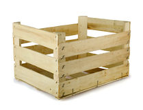 Wooden crate. Empty wooden fruit crate on white royalty free stock photo