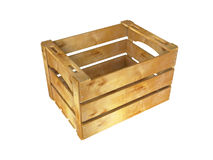 Wooden crate. Empty wooden crate on white background. 3D image Stock Photos