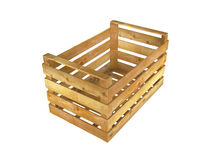 Wooden crate. Empty wooden crate on white background. 3D image Stock Images