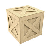 Wooden Crate. 3D rendered wooden crate over white background stock illustration