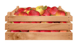 Wooden crate with apples Stock Photos