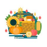 Wooden crate with autumn fruits and vegetables. Stock Photo