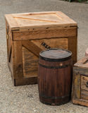 Wooden crate and barrel. Are ready for long trip Stock Image