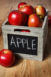 Wooden crate box full of fresh apples Royalty Free Stock Image