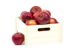Wooden crate box full of fresh apples Stock Photo