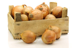 A wooden crate with brown onions Royalty Free Stock Photography