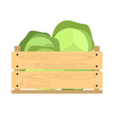 Wooden crate with cabbage Stock Photo