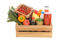 Wooden crate dairy groceries Royalty Free Stock Image
