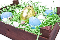 Wooden Crate of Easter Eggs Royalty Free Stock Photo