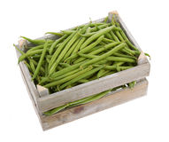 Wooden crate with Fresh green beans viewed from above Royalty Free Stock Photos