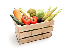Wooden crate full of fresh vegetables Royalty Free Stock Photo