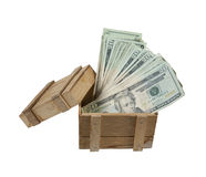 Wooden Crate Full of Money Royalty Free Stock Photography