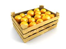 Wooden crate full of oranges Stock Photos