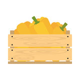 Wooden crate with paprika. Vector crate with fresh fruits and vegetables. Natural, healthy food concept. Organic fruits and vegetables from the farm collected in stock illustration